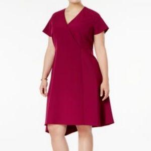 Anne Klein Asymmetrical Dress Wine Red